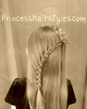 Winding lace braid hairstyle with rosette accent