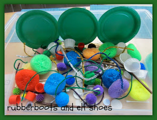 sensory bins - rubber boots and elf shoes
