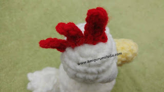 red crochet chicken comb