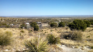 A view of the parking area for the Guadalupe Mountains trail heads.