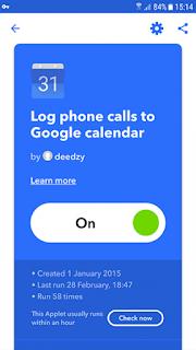 panggilan telepon ifttt log android