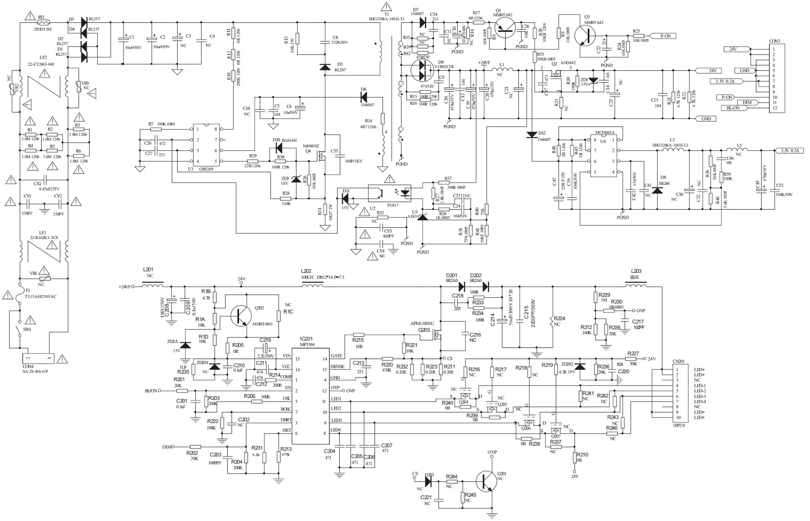 Philco LED LCD TV PH32F33DG – SMPS – LVDS – Audio Amplifier Schematic (Circuit Diagram) and