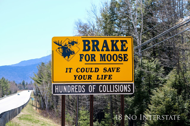 48 No Interstate back roads cross country coast-to-coast road trip New Hampshire Brake for Moose road sign