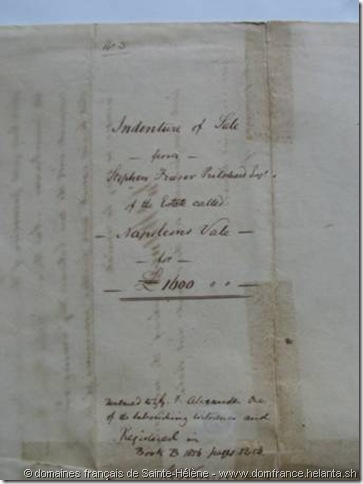 "Indenture of Sale from Stephen Fraser Pritchard for £1600 - Napolens Vale"" – document joint au bordereau ""31st July 1858 - Colonial Secretary's Office"" – Collection des domaines français de Sainte-Hélène"