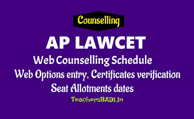 aplawcet 2019 web options entry certificates verification seat allotments dates,aplawcet 2019 web counselling dates,aplawcet 2019 seat allotments dates