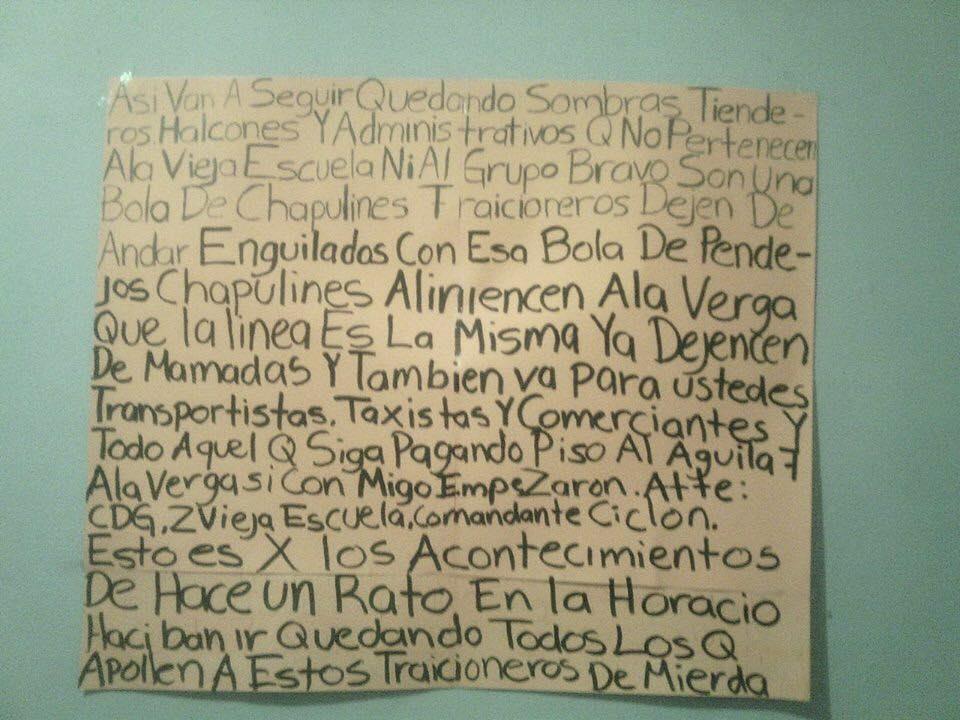 """GRUPO """"CICLONES"""" CDG Y ZVE """"BRAVOS"""" DEJAN NARCOMENSAJES EN CDVICTORIA EN LA COL AZTECA"""