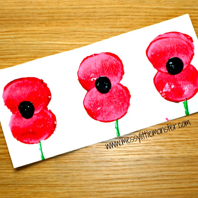 Remembrance Day poppies in field potato print craft for preschoolers upwards eyfs