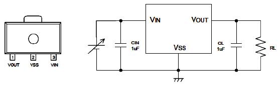 Hình 51 - Hình dáng IC và sơ đồ nguyên lý của mạch ổn áp, điện áp vào VIN  không  ổn định và điện áp ra VOUT sau IC ổn áp là điện áp ổn định.
