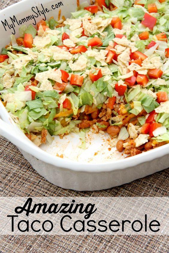 Amazing Taco Casserole #DINNER #CASSEROLE
