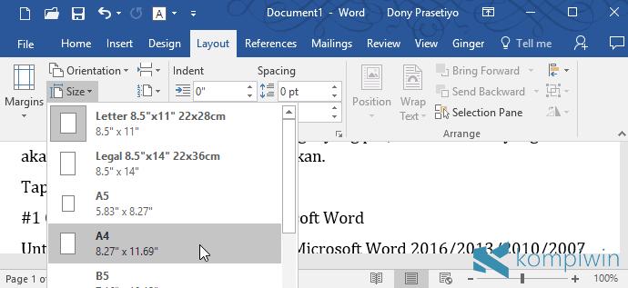 cara ubah ukuran kertas di microsoft word