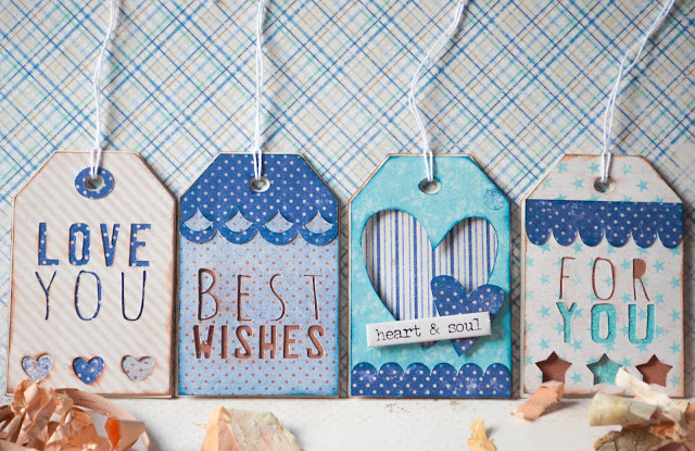 Maja denim and friends paper collection gift tags in blue and brown using cricut explore