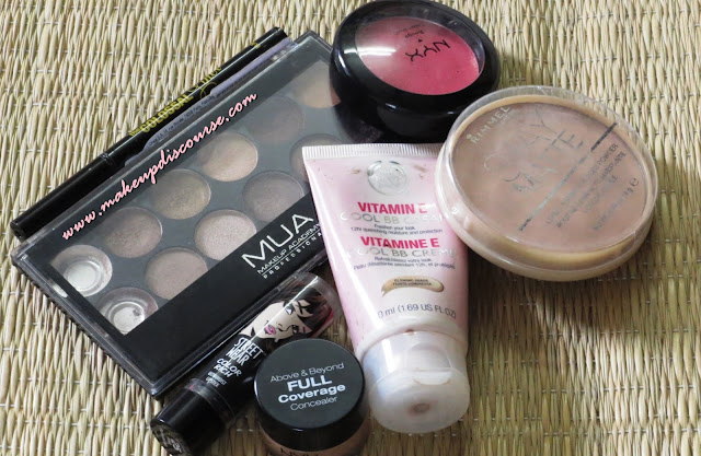 NYX above and beyond full coverage concealer in medium MUA Heaven & Earth Palette Maybelline Colossal Eyeliner Rimmel Stay matte in the shade 004 Sandstorm Revlon Streetwear Lipstick in Pink Persuasion The Body Shop Vit E Cool BB Cream In India