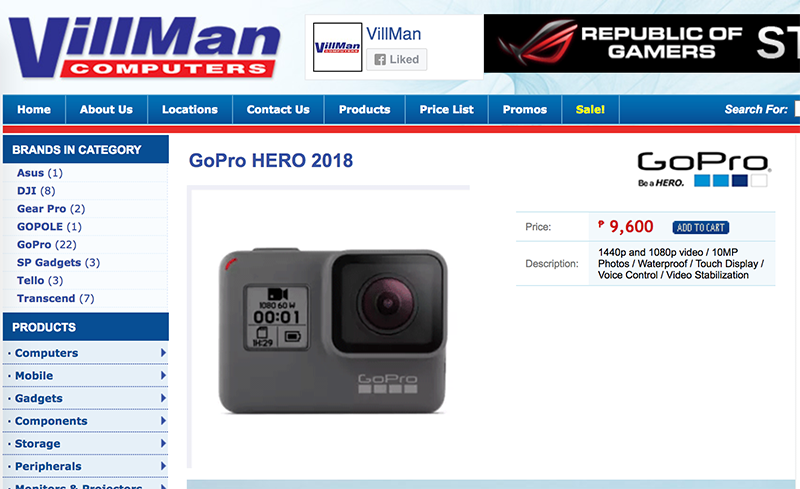 GoPro Hero 2018 is now in the Philippines for PHP 9,600