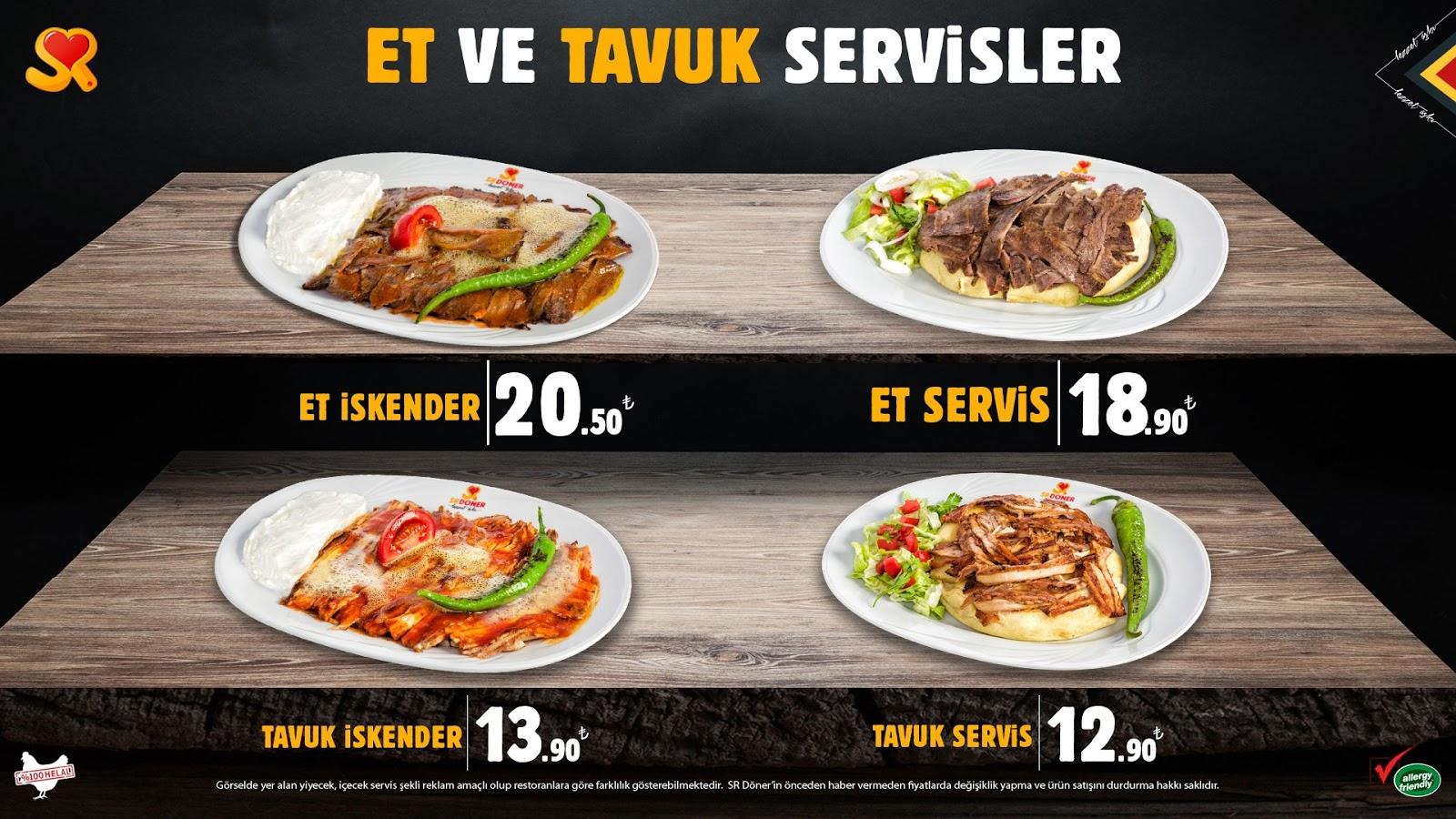 sr doner et doner menu kampanya menu fiyatlari
