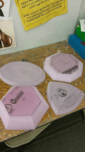 Hand made styrofoam hump moulds for clay platters / pottery.