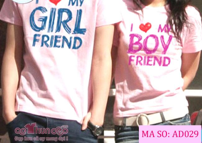 Áo Cặp Boy Girl Màu Hồng Mã AD029