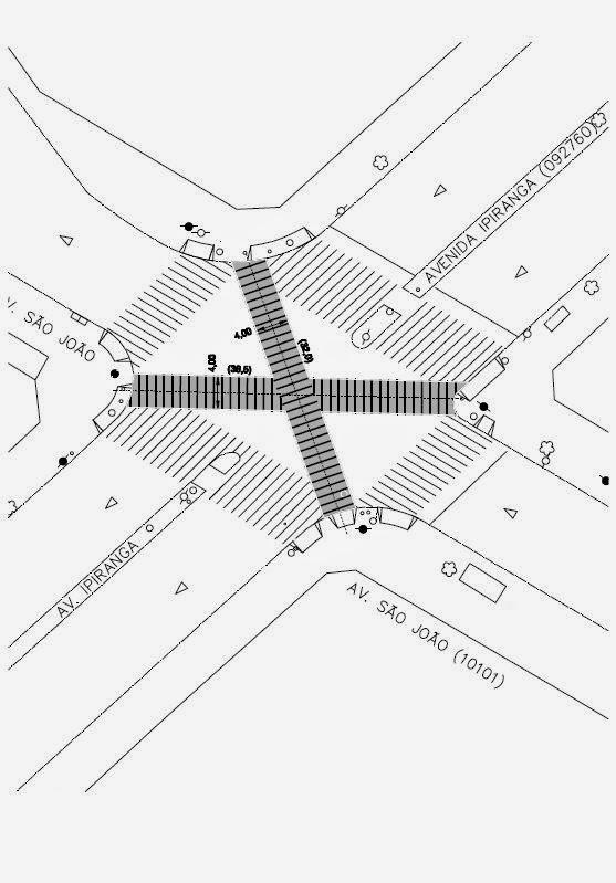 Faixa de Pedestres Diagonal - Avenidas São João e Ipiranga