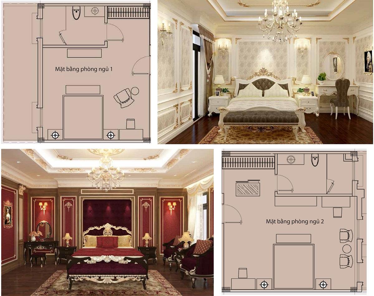 Ý tưởng thiết kế phòng ngủ Biệt Thự Tây Nam Kim Giang