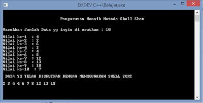 Contoh Program Algoritma Pengurutan Shell Sort C++ Sederhana