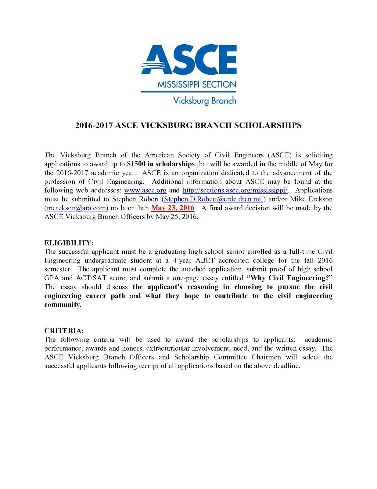 Vhs news asce scholarship deadline changed to 5 23 16 for Table 6 3 asce 7 05