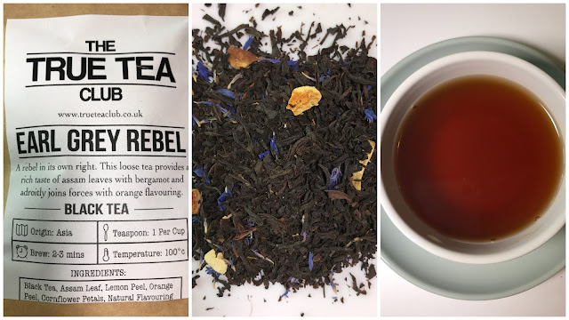 A collage of 3 pictures showing the Earl Grey Rebel tea packet, the loose tea with black leaves, a few blue petals and some orange peel and a cup of tea.