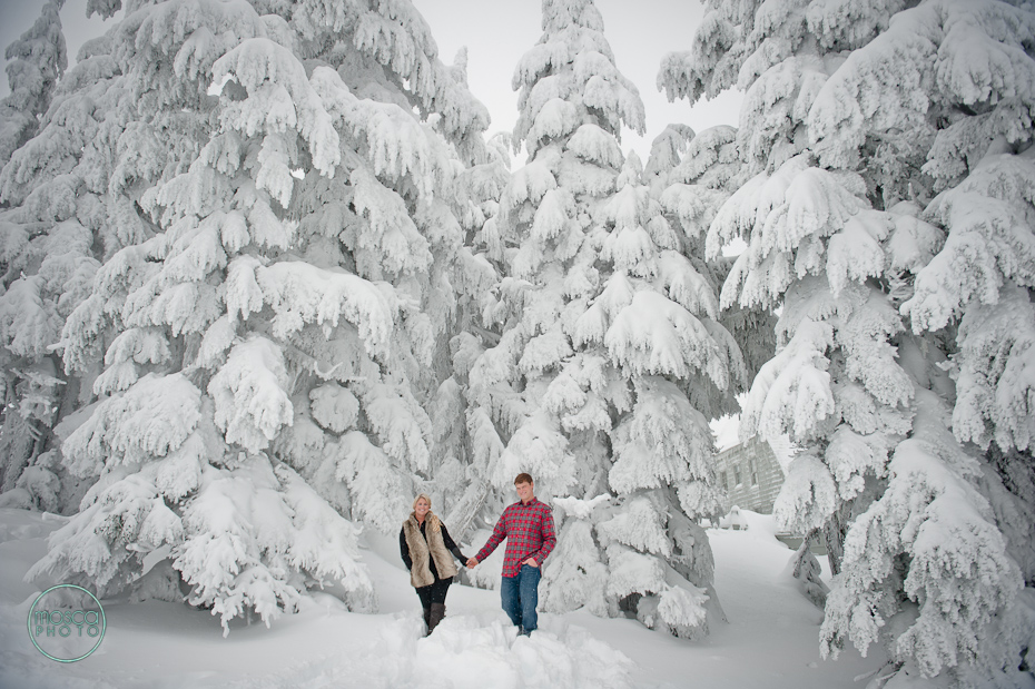 MoscaPhoto Timberline Lodge Winter Engagement Session