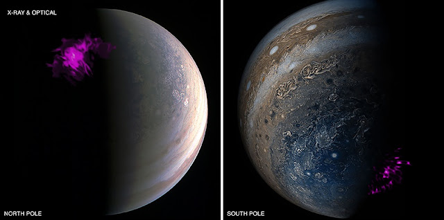 Jupiter's northern and southern lights, or auroras. Credit: X-ray: NASA/CXC/UCL/W.Dunn et al, Optical: South Pole: NASA/JPL-Caltech/SwRI/MSSS/Gerald Eichstädt /Seán Doran; North Pole: NASA/JPL-Caltech/SwRI/MSSS