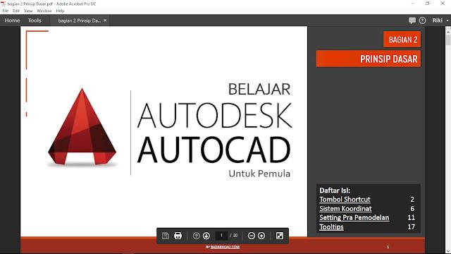 Tangkapan layar Ebook AutoCAD- Prinsip Dasar