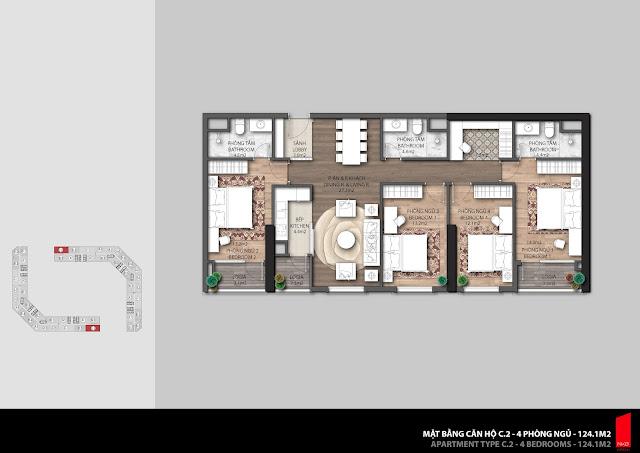 Thiết kế căn hộ C2 - 124,1m2 chung cư The Emerald