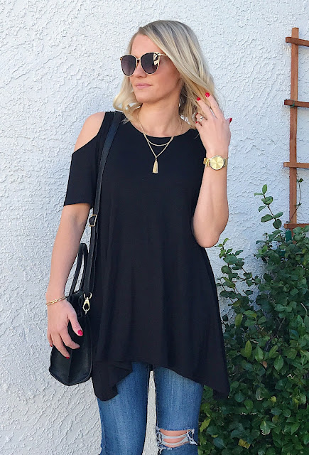 Thrifty Wife, Happy Life- Black cold shoulder tunic winter look with PinkBlush
