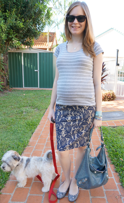 Second trimester baby bump office outfits grey stripe tee asos blue lace pencil skirt