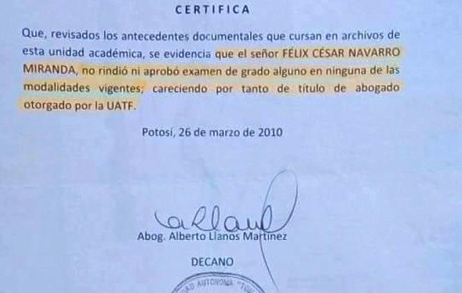 Confirman que Cesar Navarro no tiene titulo universitario