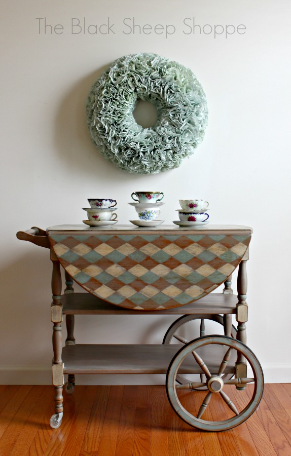 Vintage tea cart painted in Coco, Duck Egg Blue, and Old Ochre.