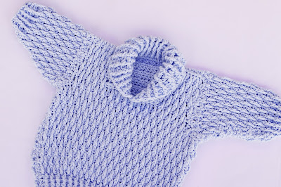 1 - Majovel Crochet Imagen Jersey azul con punto elastico a crochet y ganchillo