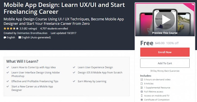 [100% Off] Mobile App Design: Learn UX/UI and Start Freelancing Career| Worth 49,99$