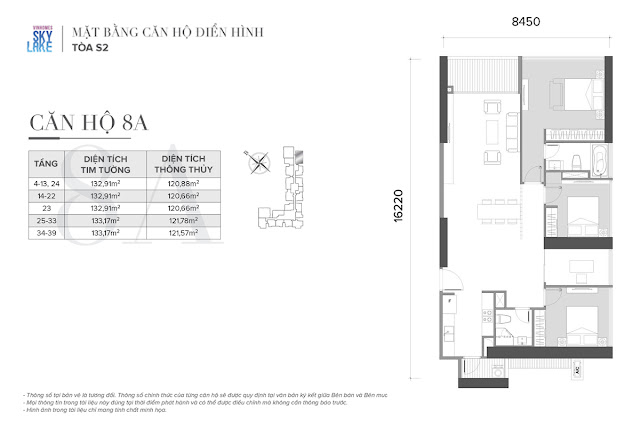 Mặt bằng căn hộ 8A tòa S2 Vinhomes Skylake