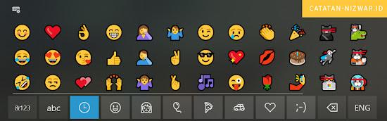 Tampilan Virtual Keyboard dengan Emoticon didalamnya - Catatan Nizwar ID