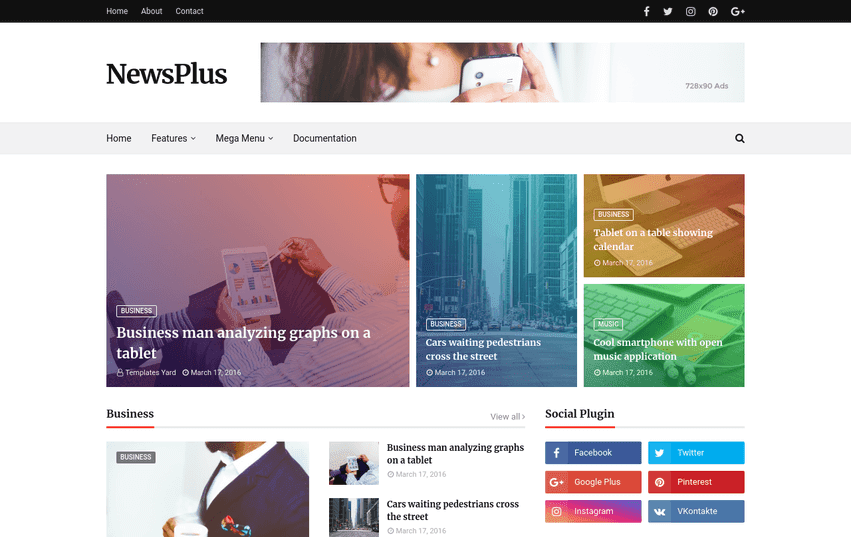Newsplus Blog Magazine Blogger Template