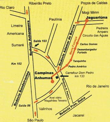 mapa do trajeto da maria fumaça Campinas-Jaguariúna
