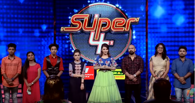 Anchor of Super4 show on Mazhavil Manorama with contestants