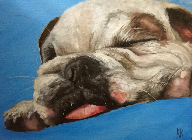 oil painting Zzzz English Bull Dog Puppy