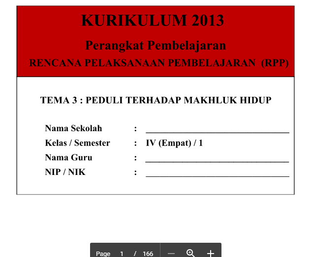 RPP Kurikulum 2013 SD Kelas 4 Tema 3 Peduli Terhadap Mahluk Hidup Revisi Tahun 2016