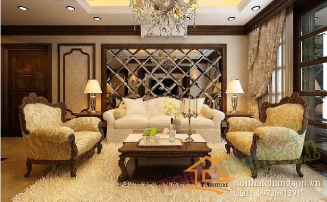 phòng khách tân cổ điển 11