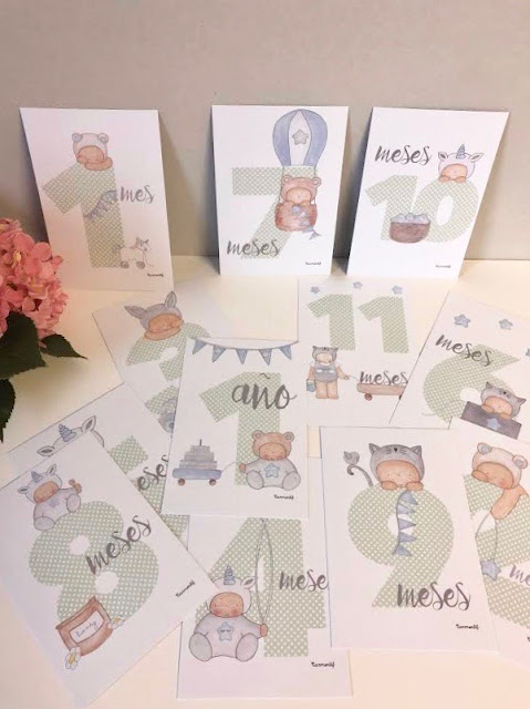 milestone babycards , tarjetas 12 meses para bebés ,