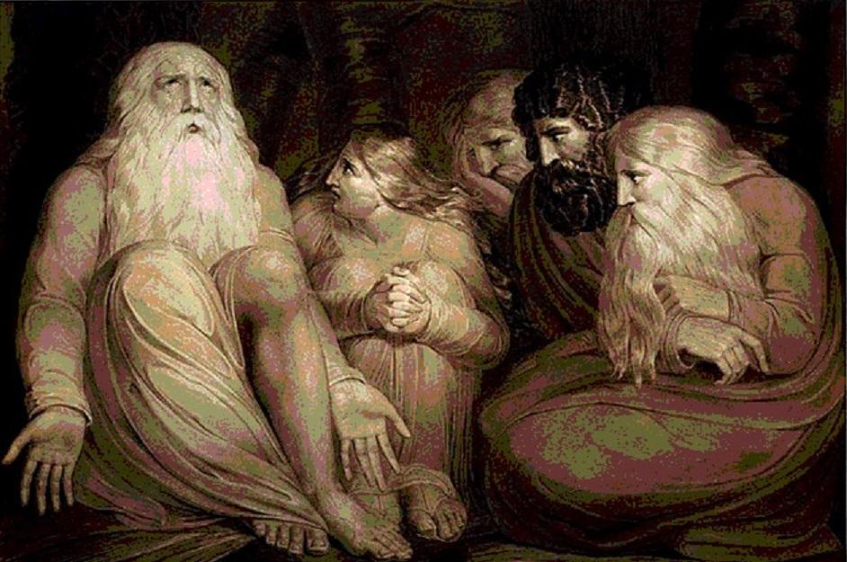 God rebukes Job's three friends and orders them to make a sacrifice.
