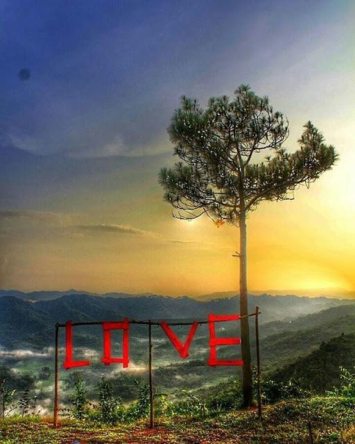 foto LOVE di bukit langit kebumen