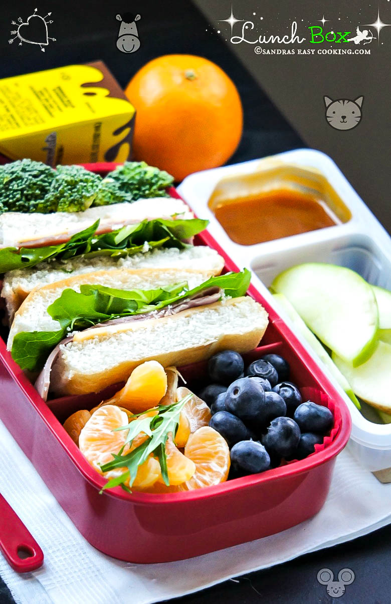 #LunchBox : Ham sandwiches with Fresh Fruits and Veggies #recipes #food