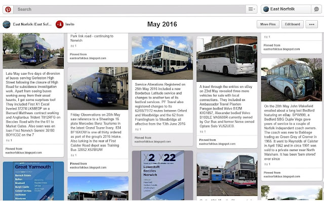 Pinterest East Norfolk Bus Blog Summary for May 2016