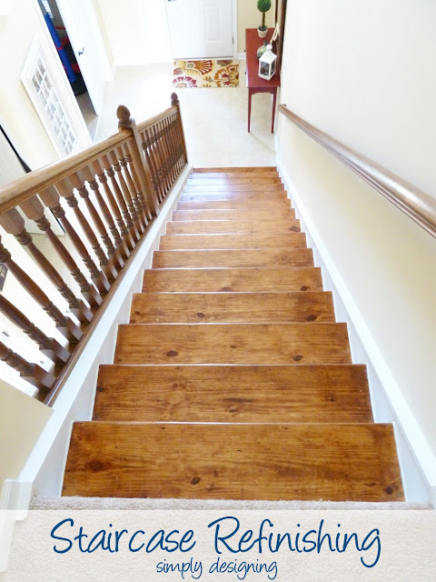 Staircase Refinishing | step by step instructions on how to rip up carpet and refinish wood stairs, including all the mistakes we made along the way | Simply Designing | #diy #decorating #homedecor #homeimprovement #homeprojects #tutorial #stairs #stain