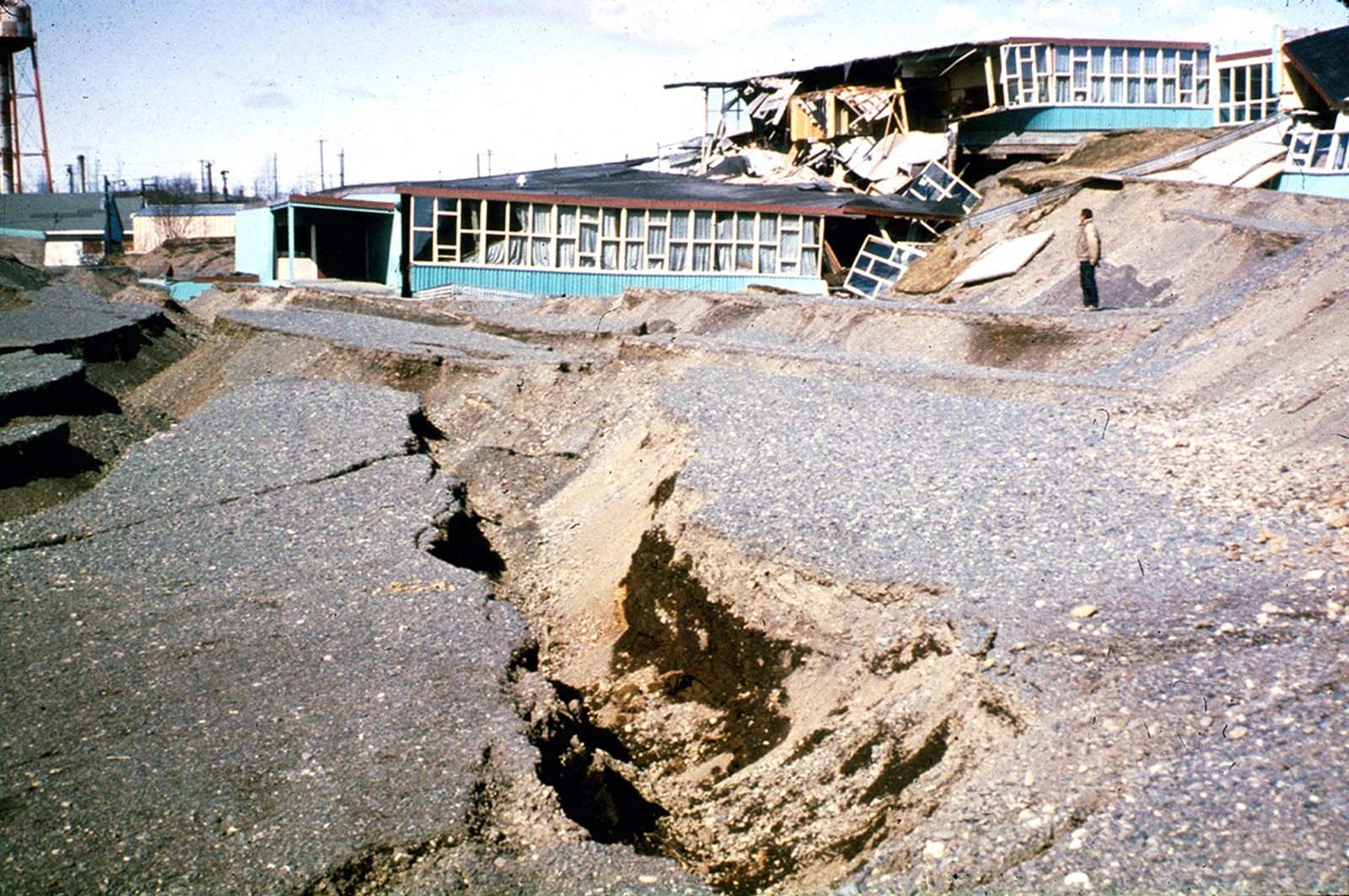 Government Hill Elementary School in Anchorage, destroyed by the Government Hill landslide.